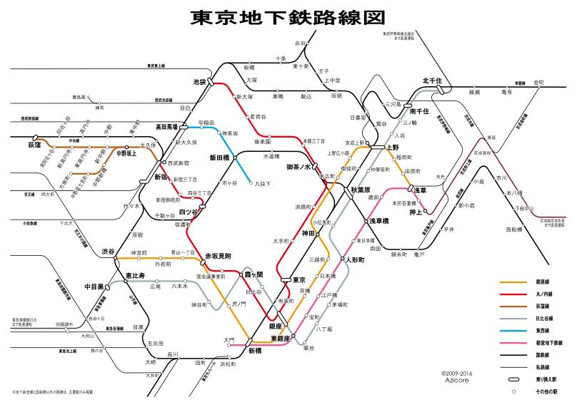 1964年12月31日時点での東京地下鉄路線図