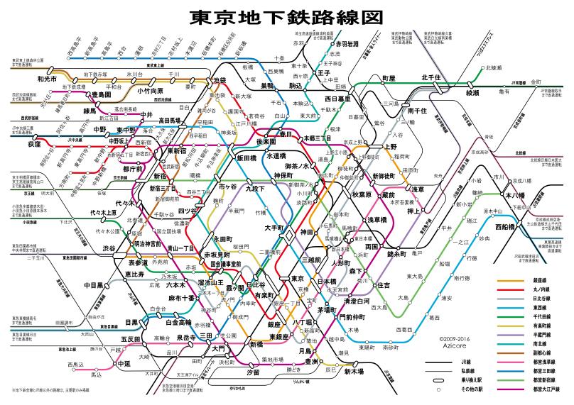2009年12月31日時点での東京地下鉄路線図